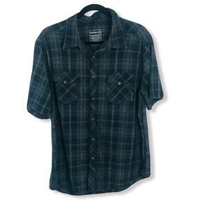 MERRELL Pearl Snap Gray Black Check Plaid Shirt